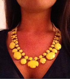 Fun Neon Yellow Crystal Bib Necklace. $30.00, via Etsy.