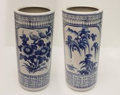 Umbrella Stand Or Holder Vintage Blue And White Glazed Ceramic Chinese  Decorations Of Flowers And Birds