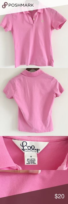 """🆕 Lilly Pulitzer Vintage Island Golf Cotton Polo The perfect shrunken preppy pink polo 💕  Stats (laying flat): Length: 20.5"""" 