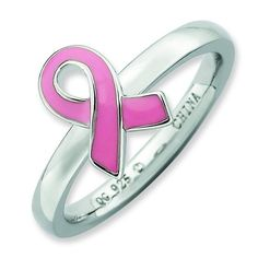Sterling Silver Stackable Expressions Pink Enameled Awareness Ribbon Ring ** Hurry! Check out this great product : Jewelry Rings Stacking