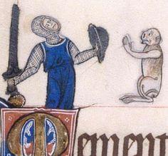 Mann mit Buckler, BL Additional 49622 The Gorleston Psalter, fol. 137v, 1310-1325, London.