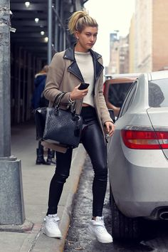Hailey Baldwin out and about in New York #leatherpants #leatherskinnypants