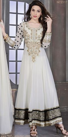 Elegant White Georgette Anarkali Suit!