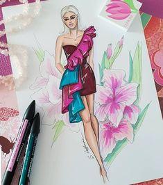 Dress Design Sketches, Fashion Design Sketchbook, Fashion Design Drawings, Fashion Sketches, Drawing Sketches, Arte Fashion, Moda Fashion, Ideias Fashion, Fashion Fashion
