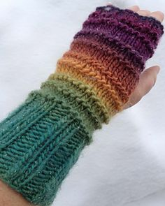 "This is a good ""first pair of mitts"" pattern for beginning knitters, incorporating ribbing, knit and purl stitches, a bit of construction and knitting in the round with double pointed needles. The mitts match the Ribby-Ridgy Hat pattern."