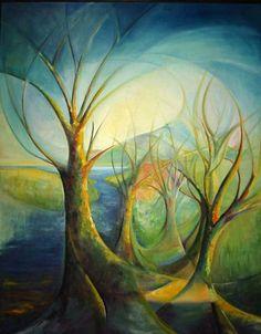 Fantasy of Trees, Original Oil Painting, mapietreasures♥♥♥