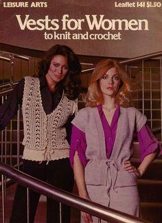 Knitting Crochet Patterns Women Vest Tuxedo Blouson Classic Filet Lace  #LeisureArts #KnittingCrochetPatterns