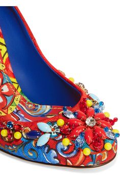 Heel measures approximately 105mm/ 4 inches Multicolored brocade Slip on Made in Italy