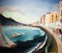 Hand Painted Wall Decorative Art Painting Landscape Oil Painting Castellamare di Stabia by Tivadar Kosztka Csontvary Fine Art Oil Painting Gallery, Web Gallery Of Art, Hand Painted Walls, European Paintings, Post Impressionism, Oil Painting Reproductions, Akita, Painting Inspiration, Landscape Paintings