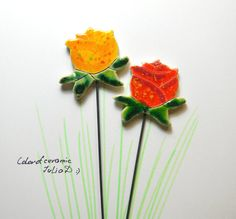 Ceramic beautiful rose stake on metal stick. Set of 2 roses.Our plants if not always colorful blossoms ... I create ceramic flowers fit pleasure perfectly! They leave the summer all the time for us! Suitable planters garden, home, office. Really nice to give gifts. Surprising use - Bookmark with Read a book!  X 2 inch flower X 10 inch flower with a stick X The flowers are safe in all weather! - Rain, snow and sun for use outdoors  Other flowers please visit here…