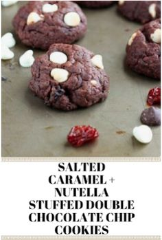 SALTED CARAMEL + NUTELLA STUFFED DOUBLE CHOCOLATE CHIP COOKIES Lumberjack Cake, Double Chocolate Chip Cookies, Easy Dinner Recipes, Family Meals, Nutella, Cookie Recipes, Caramel, Face, Desserts