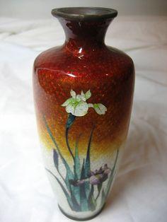 RARE Antique Japanese Cloisonne Ginbari Iris Vase   eBay