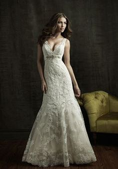 Brilliant A line Empire V Neck Floor Length Chapel Train Bridal Dresses - Lunadress.co.uk