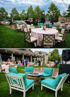 Turquoise and gold accented furniture, soft pinks and ivory linens, and glowing fire pits set the scene for a lavish yet intimate affair. Engagement Party, Garden Party