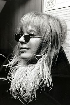 Marianne Faithfull, pictured at Heathrow Airport en-route to an Italian pop festival, 1967.