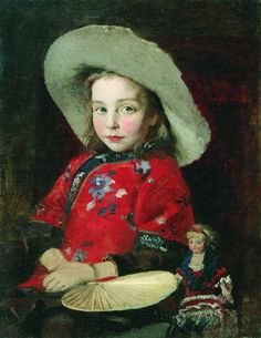 Andrei Petrovich Ryabushkin - Girl with doll, 1890s. Oil on canvas, 46 x 36 cm. The State Tretyakov Gallery, Moscow, Russia.