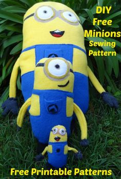 Despicable Me Minion Plushie. Free Sewing patterns for all sizes...I simply can't NOT pin this...holy crap...Now to find a tut for the unicorn that isn't crocheted since I can't crochet!! lol