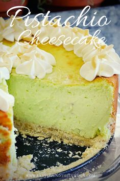 Yes!  A pistachio cheesecake!  The tallest cheesecake I've ever made.  Beautiful green color.  Perfect for a special occasion especially St. Patrick's Day or Christmas! Pistachio Cheesecake, Strawberry Swirl Cheesecake, Cheesecake Desserts, Cheesecake Strawberries, Pistachio Cake, Strawberry Sauce, Fun Easy Recipes, Easy Desserts, Dessert Recipes