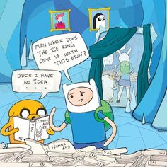 Then Finn and Jake and Fionna and Cake turn around in the mirror to see each other and stuff happens from then on. This needs to happen.