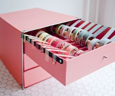 DIY Washi Tape Drawers - Awesome DIY Craft Room Organization Ideas To Steal Right Now!