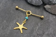 Starfish Industrial Piercing Jewelry Gold Industrial by MyBodiArt