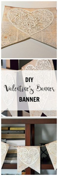DIY Paper Valentine's Day Banner made with bookpage scrapbook paper and doilies