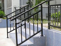 Outdoor metal stair railing or removable aluminum / steel handrail ... Porch Handrails, Outdoor Stair Railing, Metal Stair Railing, Stair Handrail, Aluminum Railings, Metal Railings, Railings For Steps, Modern Staircase Railing, Exterior Stair Railing