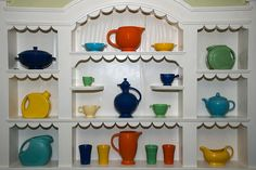 Fiestaware (and other pottery) - nice display.