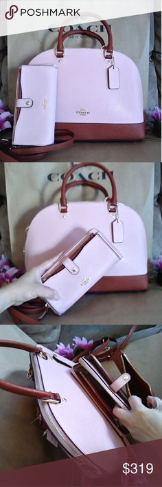 NWT Coach purse bag Crossbody w/ wallet set NWT Coach LARGE size Sierra  Dome style tote purse handbag  crossbody  Light Pink . Rust color Size 12.5 x 11.5  x 4.5   W/ NWT coach wallet A lot of compartments For ID , bills, coins , stuff Coach Bags Shoulder Bags