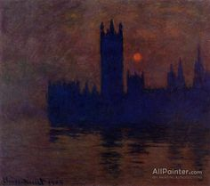 Claude Monet Houses Of Parliament, Sunset oil painting reproductions for sale