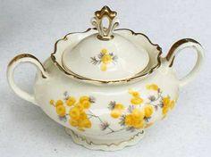 Carstens (Sorau) Mimose Sugar Bowl & Lid China Image, Sugar Bowls, Kitchen Items, Fine China