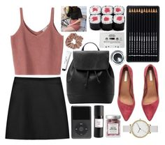 """Red-pink"" by rheeee ❤ liked on Polyvore featuring MANGO, H&M, STELLA McCARTNEY, Eight & Bob, CASSETTE, Skagen, Bobbi Brown Cosmetics and Topshop"
