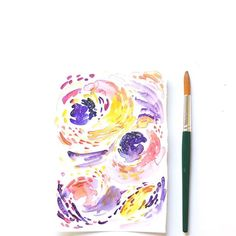 Deconstructed starry night abstract watercolor illustration. I think I may just make a series of this. Enjoying the loose brush strokes.  #Inkstruck #abstractwatercolor