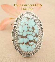 Four Corners USA Online - Elongated Dry Creek Turquoise Stone Ring Size 8 1/4 Thomas Francisco Native American Indian Silver Jewelry NAR-1436, $192.00 (http://stores.fourcornersusaonline.com/elongated-dry-creek-turquoise-stone-ring-size-8-1-4-thomas-francisco-native-american-indian-silver-jewelry-nar-1436/)