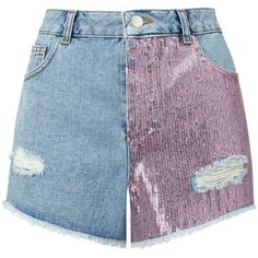 Miss Selfridge Pink Sequin Denim Shorts (620 MXN) ❤ liked on Polyvore featuring shorts, bottoms, mid blue, pink jean shorts, pink sequin shorts, sequined shorts, summer jean shorts and pink cotton shorts