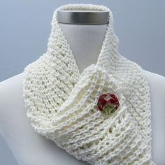 Knit White Scarf Infinity Scarf Cotton Knit Scarf by ThisSeamsGood, $25.00