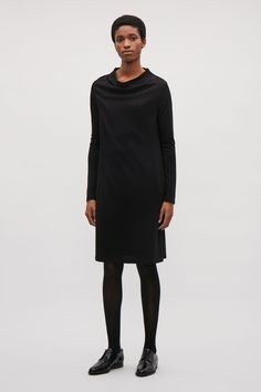 COS image 1 of A-line dress with grown-on neck  in Black