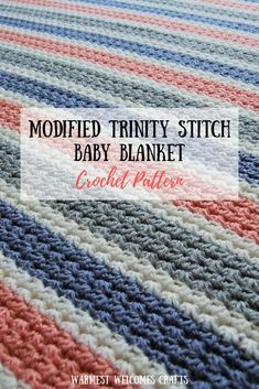 This adorable crochet baby blanket is made using a modified half double crochet version of the trinity stitch. Simple and easy to learn and gorgeous in weave and texture. Quick Crochet Patterns, Crochet Baby Blanket Free Pattern, Free Crochet, Crochet Blankets, Baby Blankets, Crochet Stitches, Double Crochet Baby Blanket, Half Double Crochet, Blanket Stitch