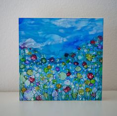 The Blues Wildflower Study Series Alcohol ink Painting