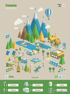 Creative Camp elements maps vector