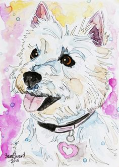 CUSTOM PAINTINGS / MIXED MEDIA SKETCH ON YUPO / RESCUED PETS / DOGS / Westie by Shaina Kay Stinard - Artist.  www.shainastinardartist.com.  Making your photos a work of art!  'Carly' - 5 x 7 watercolor with pen and ink.  #SecondChances #artbook #Kickstarter