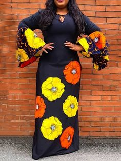 African Maxi Dresses, Latest African Fashion Dresses, African Dresses For Women, African Print Fashion, African Attire, Latest Fashion, Floral Print Maxi Dress, Maxi Dress With Sleeves, Look Fashion