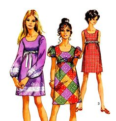 60s Mod Sewing Pattern Vintage Simplicity 8639 Little Empire Mini Dress Sleeveless, Short or Long Sleeves Bust 34