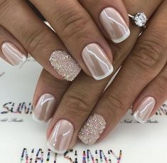 """If you're unfamiliar with nail trends and you hear the words """"coffin nails,"""" what comes to mind? It's not nails with coffins drawn on them. It's long nails with a square tip, and the look has. Wedding Nails Design, Wedding Manicure, Wedding Toe Nails, Bridal Nail Design, Glitter Wedding Nails, Bridesmaid Nails Acrylic, Wedding Nails For Bride Natural, Bridal Toe Nails, Vintage Wedding Nails"""
