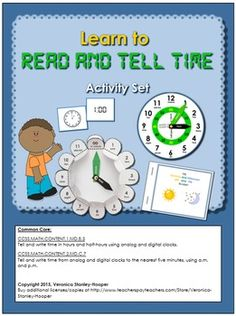 Learn to Read and Tell Time- Complete set of 4 hands-on Activities List Of Activities, Hands On Activities, Teacher Notes, Home Learning, Activity Ideas, Learn To Read, Homeschooling, Students, Clock