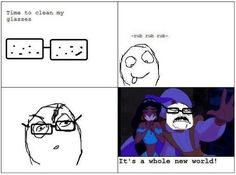 Putting on your glasses right after you cleaned them.