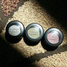 *FINAL SALE* MAC eyeshadow. Used once. MAC eyeshadow. Used once. Colors L-R Silver Ring Veluxe Pearl (dark grey), Flourishing Matte (dark green), Blackberry Matte (dark purple). !!!PRICE IS FIRM unless bundled!!! MAC Cosmetics Makeup Eyeshadow