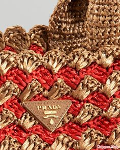Prada Two-tone raffia bag Crochet Clutch, Crochet Handbags, Crochet Purses, Crochet Bags, Crochet Shell Stitch, Free Crochet, Knit Crochet, Bead Crochet Patterns, Crochet Blanket Patterns