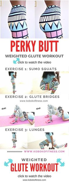 You really get amazing results from this weighted glute workout. You will get a bigger butt and certainly a more perky booty too when you do these exercises