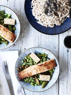 miso baked salmon w/ edamame + tamari greens. Tested: keeper!